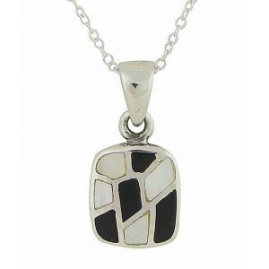 Mosaic Design Black Onyx and Mother of Pearl Silver Pendant