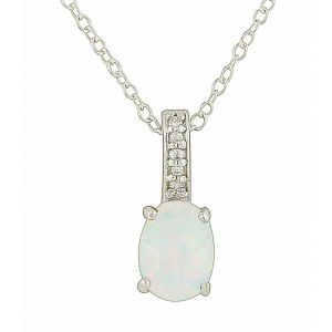 Bejewelled White Opal Oval Silver Pendant