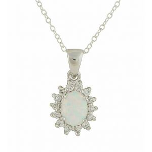 Sparkle Surround White Opal Necklace
