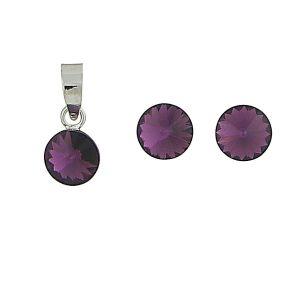 Amethyst Swarovski Earrings and  Pendant Set