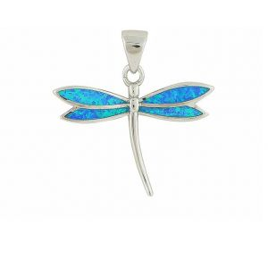Blue Opal Dragonfly Pendant Necklace