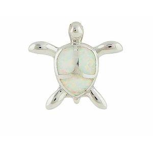 White Opal Turtle Silver Pendant Necklace