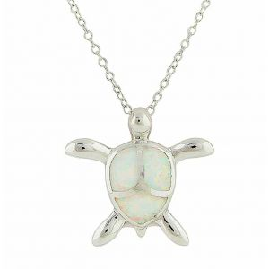 White Opal Turtle Silver Pendant Necklace