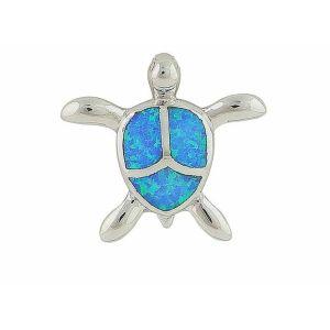 Blue  Opal Turtle Silver Pendant Necklace