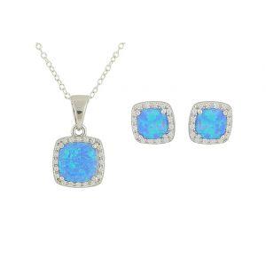 Blue Opal Regality Silver Necklace and Earrings Set