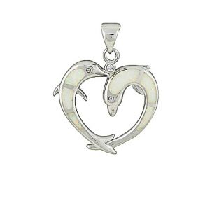 Dolphin and Heart White Opal Pendant Necklace