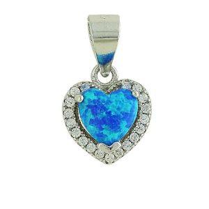 Blue Opal Sparkling Love Heart Pendant