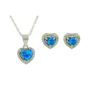 Sparkling Love Heart Blue Opal Set