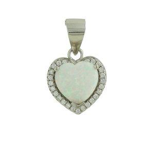 White Opal Sparkling Love Heart Pendant