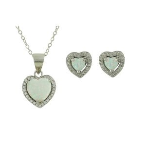 Sparkling Love Heart White Opal Set
