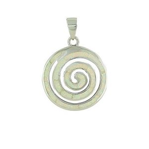 White Opal Coil Large Silver Pendant