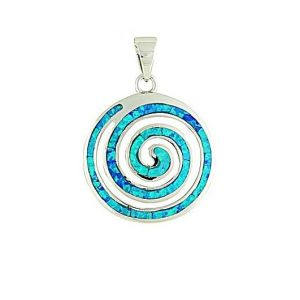Blue Opal Coil Large Silver Pendant