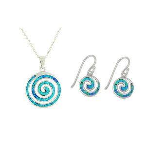 Blue Opal Coil Large Pendant and Drop Earrings Set