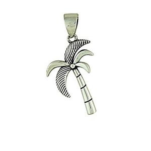 Etched Palm Tree Silver Pendant