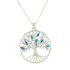 Blue Opal Large Tree of Life Pendant