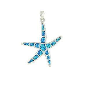 Blue Opal Starfish Large Silver Pendant