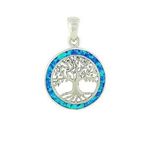 Blue Opal Surround Tree of Life Pendant