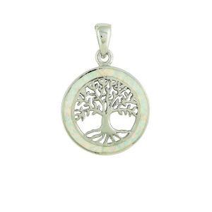 White Opal Surround Tree of Life Pendant