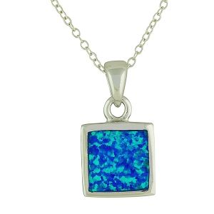 Blue Opal Silver Symmetry Pendant