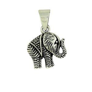 Silver Etched Elephant Pendant