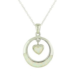White Opal Suspended Heart Necklace