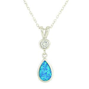 Blue Opal Crystal Mount Teardrop Necklace