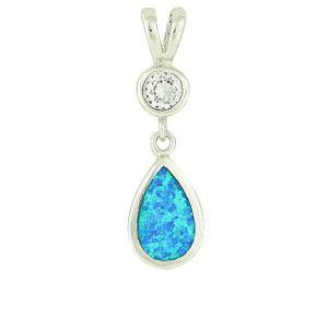 Blue Opal Crystal Mount Teardrop Pendant