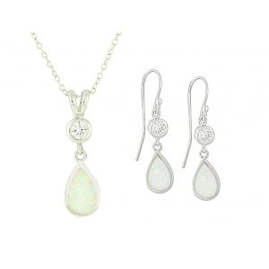 White Opal Crystal Mount Teardrop Necklace and Earrings Set