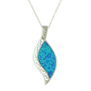 Geo Etched Blue Opal Necklace
