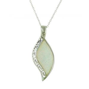 Geo Etched White Opal Necklace