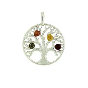 Tree Of Life Silver Amber Pendant