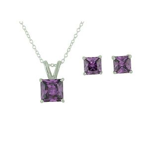 Square Amethyst Cubic Zirconia Necklace and Earrings Set