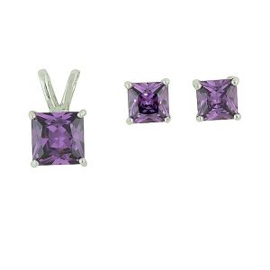 Square Amethyst Cubic Zirconia Pendant and Earrings Set