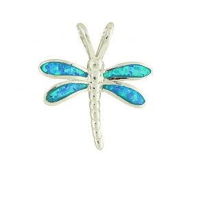 Blue Opal Winged Silver Pendant