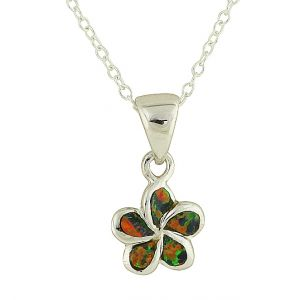 Black Opal Plumeria Flower Necklace