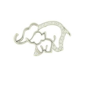 Elephant Mother and Baby Pendant Necklace