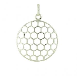 Honeycomb Silver Pendant Necklace