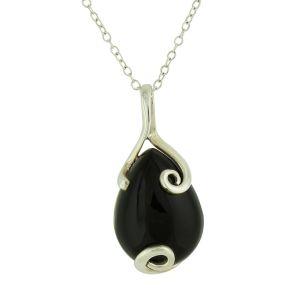 Encased Black Onyx Silver Pendant