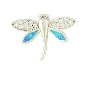 Blue Opal Firefly Silver Pendant