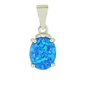 Blue Opal Innocence Silver Pendant