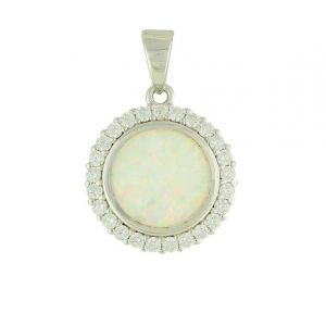 White Opal and Cubic Zirconia Rimmed Silver Necklace