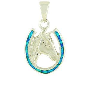 Blue Opal Horseshoe Necklace