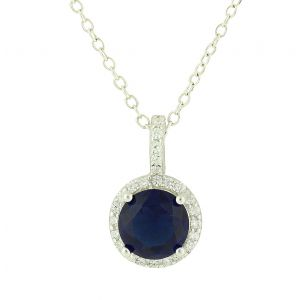 Created Sapphire and Cubic Zirconia Rimmed Silver Necklace
