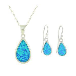 Blue Opal Teardrop Necklace and Earrings Set