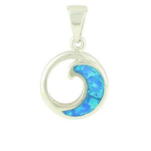 Blue Opal Wave Pendant