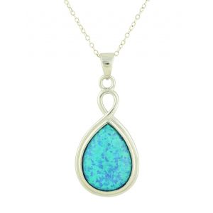 Blue Opal Suspension Silver Pendant