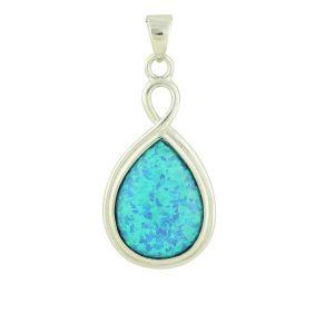 Blue Opal Suspension Silver Pendant