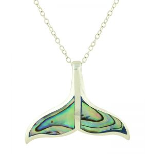Abalone Whale Tail Pendant Necklace