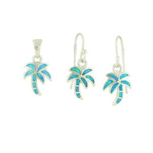 Blue Opal Palm Tree Necklace and Earrings Set