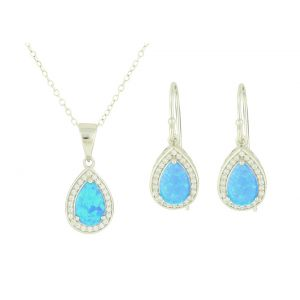 Blue Opal Victoriana Pendant and Earring Set